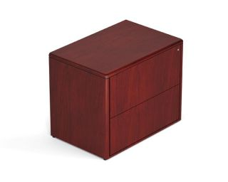 Margate Cordovan Finish Wood Veneer Double Pedestal L Shape Desk with