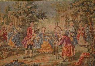 Large Antique Belgian Tapestry Wall Hanging ~ Courtyard Scene