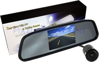 Car Rearview Mirror 4 3 in LCD Display Backup Parking System with