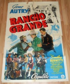 1940 Rancho Grande 1 Sheet Movie Poster 4 Gene Autry