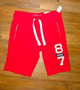 Aeropostale Mens Small Athletic Shorts 3520 Red w White Logo