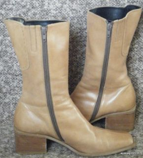 Moda Camel Color Leather Mid Calf Boots SZ 7 Chunky Heel EXCELLENT