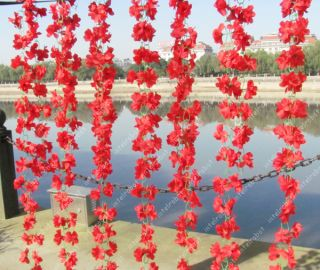 220cm 86 6 Artificial Azalea Vine 60 Red Flowers Wedding Garland Arch