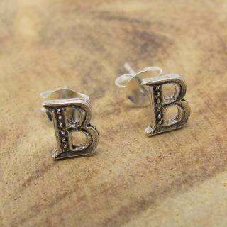 letter b 925 silver stud earrings earrings plain cute initial letter b