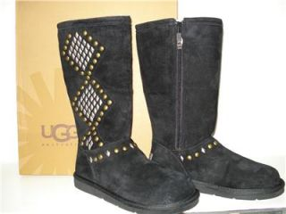 Womens UGG Avondale Black Size 7 Studded Suede Sheepskin Tall Boots