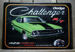 METAL DODGE CHALLENGER R T 426 HEMI TIN SIGN GARAGE CAR MAN CAVE SIGNS