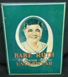 Babe Ruth All American Athletic Underwear Advertising Metal Sign Repo