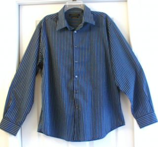 Mens Axist Navy Blue Striped Long Sleeve Shirt XL