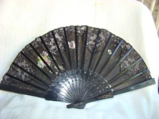 vintage black hand painted roses hand fan