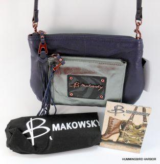 Makowsky Rochelle Leather Crossbody Bag NWT Blackberry Pewter