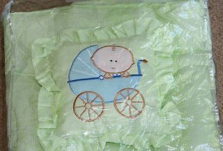 Baby Crib Receiving Blanket Travel Set Pillow Baby Carriage Green