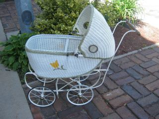 South Bend Toy Co Restored Wicker Doll Baby Carriage Buggy Pram