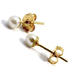 Gold 18K GF 4mm White Pearl Earrings Baby Girl Toddler Kids Push Back