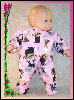 American Girl Doll Clothes Bitty Baby Sleeper Pink Cats