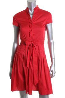 Jones New York New Red Pleated Mandarin Neck Wear to Work Dress
