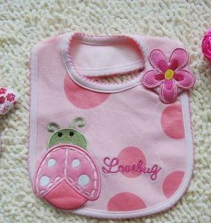 Pink Color Lovely Ladybug Baby Boys Girls Feeding Bib Toddlers