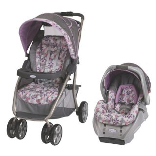 Travel System Stroller Car Seat Baby Girl Gear Pink and Purple Flowers