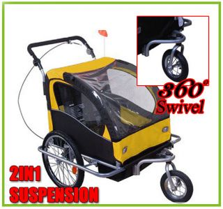 Aosom 2IN1 DOUBLE KIDS BABY BIKE BICYCLE TRAILER/STROLLER Yellow