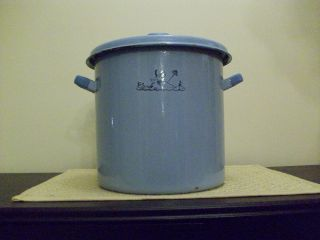 Vintage Blue Granite Ware Baby Bottle Sterilizer