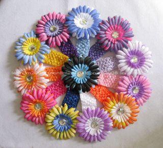 Wholesale 12 Crochet Headband 12 Daisy Flower Baby Girl