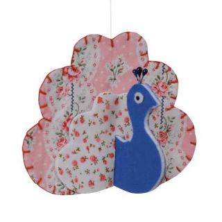 Blue Hanging Peacock Bird Modern Mobile Baby Nursery Mobile