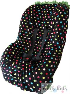 Baby Toddler Kids Minky Car Seat Cover   Multi Polka Dot Print / Green