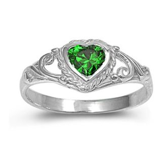Sterling Silver Ring Size 5 Green CZ Heart Emerald Girl Child Womens