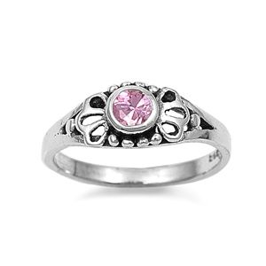Sterling Silver Ring Size 4 Pink CZ Baby Girl Pinky or Toe Filigree