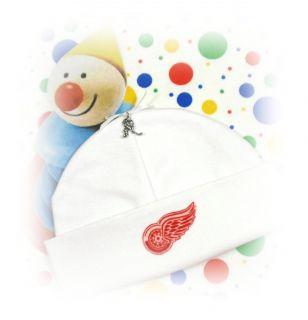 Detroit Red Wings Newborn Baby Beanie Hat Hockey Charm