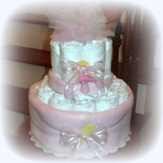 LOADED Baby Girl Diaper Cake Shower Centerpiece Pink Yellow Gift