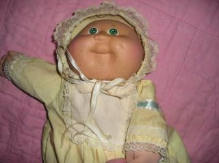 Vintage 80s 1985 Cabbage Patch Kids Green Eyed Baby Girl Yellow Dress