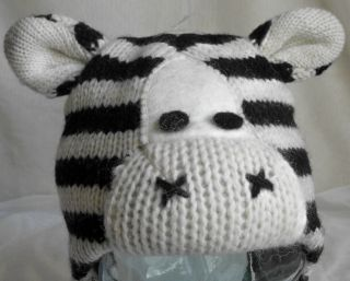 Baby Girls Boys Winter Ski Snow Animal Hat Beanie Wool Zebra