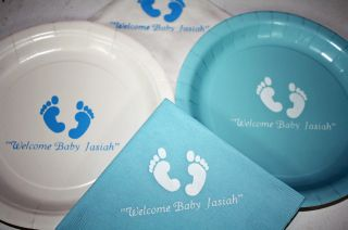 50 Personalized Baby Shower Dinner Plates and Napkins
