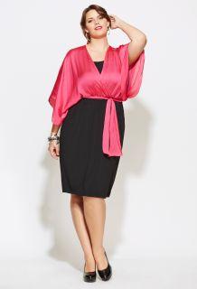 Avenue Plus Size Kimono Sleeve Belted Colorblock Dress
