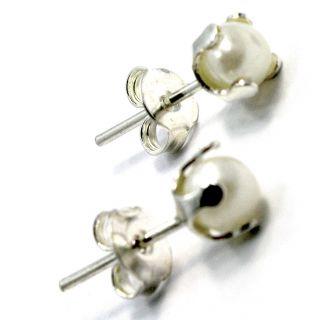 Sterling Silver 925 Earrings White Pearl 4mm Girl Kids Toddler Push