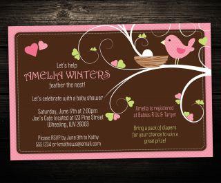 Little Bird Baby Shower or Birthday Invitations Tree Heart Forest Nest