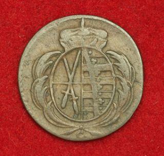 1780 Saxony Frederick Augustus III Copper Heller Coin VF