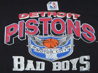 Worn 80s Vintage Detroit Pistons Bad Boys T Shirt NBA Large