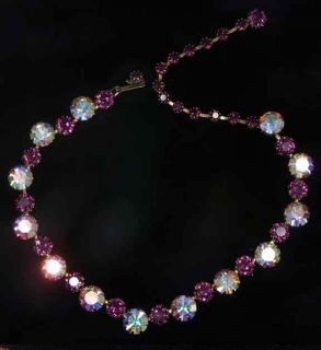 Signed Purple Prong Set Aurora Borealis Rhinestone Necklace
