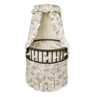 Badger Basket 00838 Elegance Round Baby Bassinet Black Toile Bedding