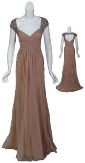 Badgley Mischka Decadent Ruched Tulle Rhinestone Evening Gown Dress 12