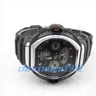 Black LED Backlight Digital Analog Quartz Digital Wrist Watch