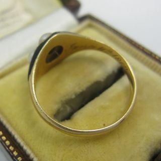 Georgian 18ct Natural Pearls Rose Diamond Enamel Ring