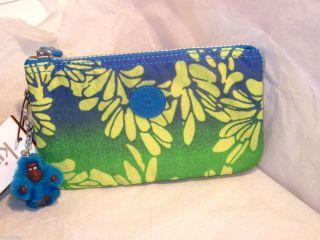 KIPLING Creativit POUCH Bags Cases Purses w Monkey Blue Green Yellow