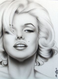 New pinup portrait painting MARILYN MONROE black white hair over right
