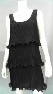 Bailey 44 Misses M Pleated Shift Casual Dress Black Sleeveless Tiered