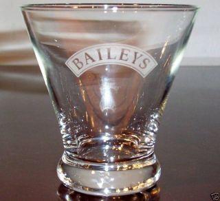 Baileys Irish Cream Liqueur Etched LG Rock Glass New