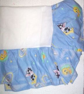 Baby Looney Tunes Blue Space Stars Nursery Bedding Crib Skirt Dust