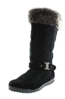 Baby Phat New Uzima Black Faux Fur Cableknit Mid Calf Casual Boots