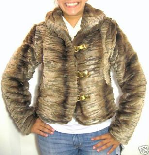 Authentic Baby Phat Fur Jacket Coat Brown Large